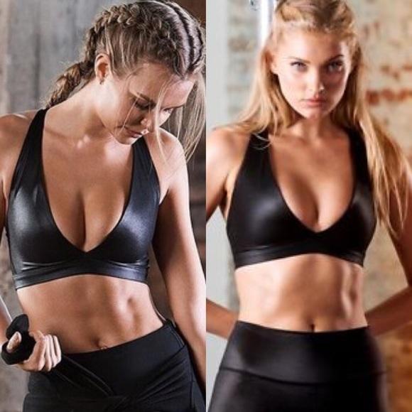 shiny sports bra